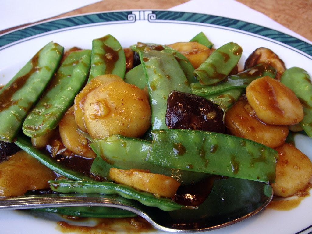 Sautéed Fresh Water Chestnuts, Snow Peas, Shiitake Mushrooms & Abalone Mushrooms