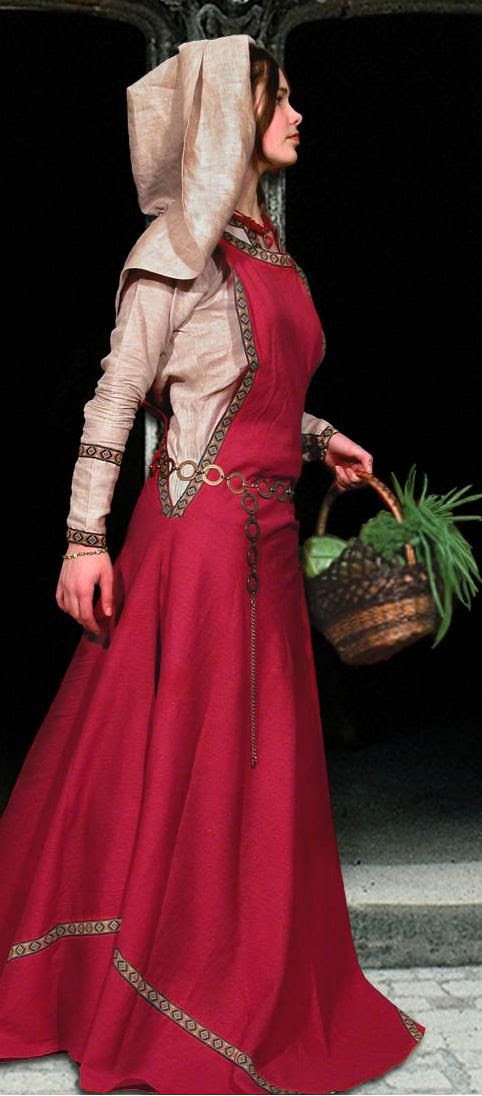 Sideless Surcote—A woman's over-gown cut away at the sides from under the arms to the hips to show the cote-hardie or kirtle underneath; it was usually worn with a plastron at the front of the figure. It remained as a ceremonial dress for women during the latter of this period.