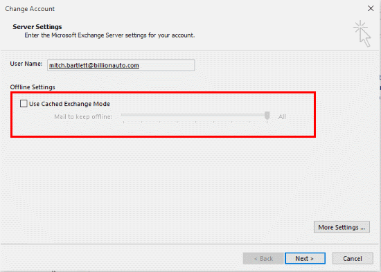 Outlook 2016: Enable or Disable Cached Exchange Mode