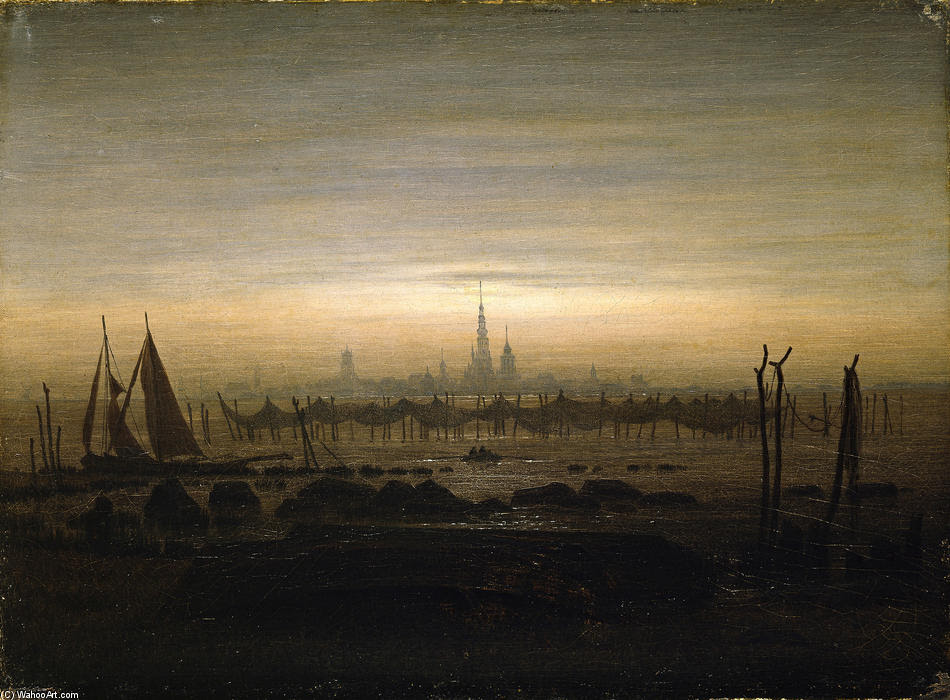 Greifswald luz de la luna, 1817 de Caspar David Friedrich (1774-1840, Germany)