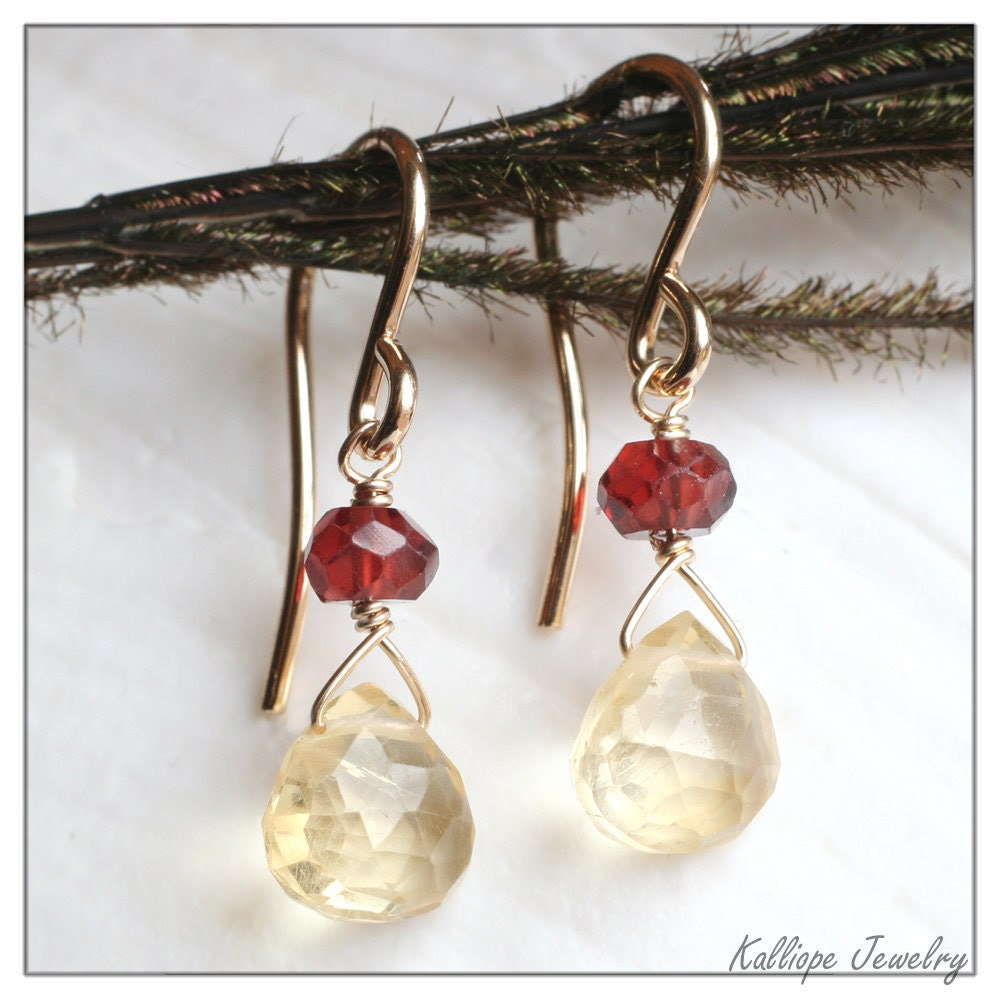 christmas earrings, citrine garnet gold filled dangle earrings, holiday jewelry, gemstone earrings, red and gold. Wear Poetry