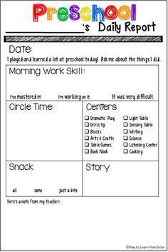 1000+ ideas about Preschool Daily Sheet on Pinterest | Preschool ...