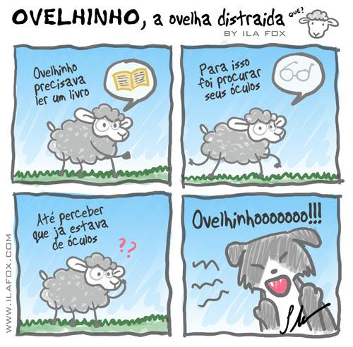 Ovelhinho, a Ovelha distraída procura seu óculos, quadrinhos by ila fox