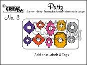 Partz stansen no. 3 Versiering Labels & Tags / Partz dies no. 3 Add ons Labels & Tags