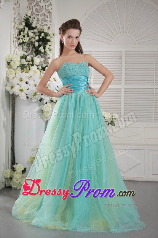 Blue and yellow evening dress