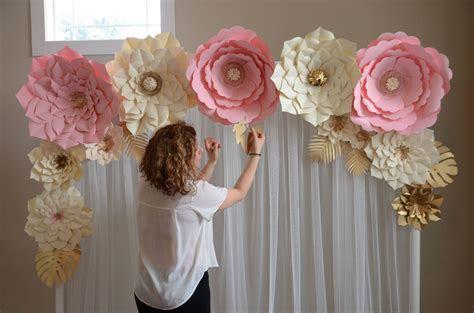 Paper flower backdrop, Paper flower template, DIY paper