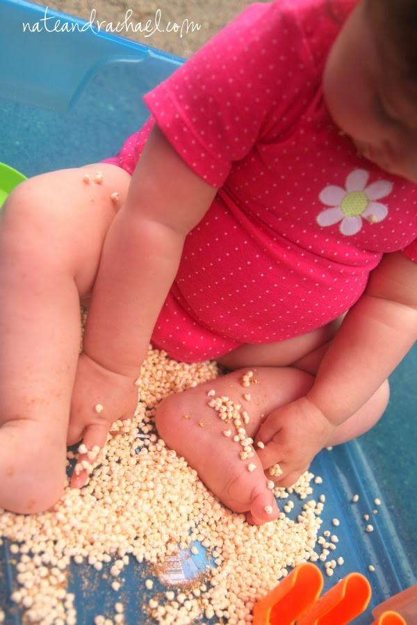 edible sensory play--cereal