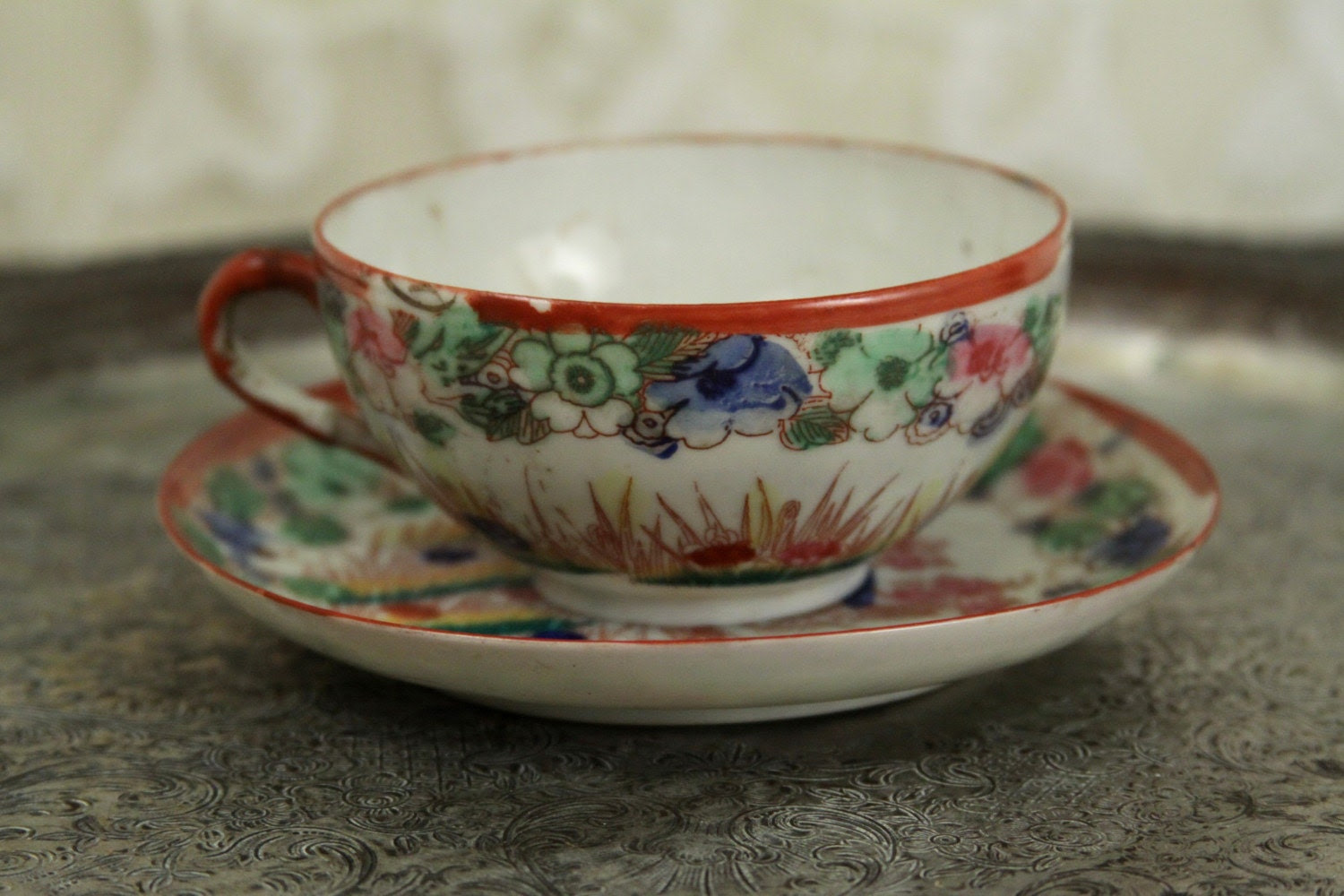 SALE --  Beautiful JAPANESE tea cup and saucer hand painted GEISHA GARDEN theme