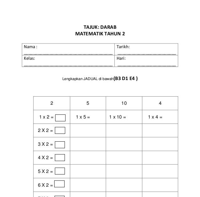 Soalan Darab Matematik Tahun 2 Persoalan W