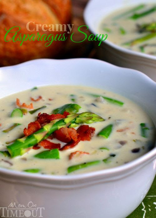 This Creamy Asparagus Soup is so delicious and is just bursting with fresh flavor! Comfort food at it's best! | MomOnTimeout.com @Trish Papadakos - Mom On Timeout