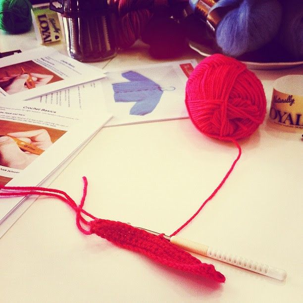 Learning to crochet. It's been a very long long time since I have learned a brand-new skill and while I don't enjoy feeling all fingers and thumbs and more than a little clueless I'm enjoying the challenge. Not to mention staving off Alzheimer's for a lit