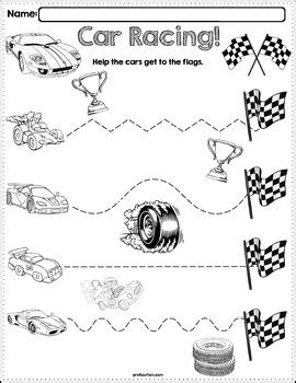 Trace The Pattern: Race Cars Worksheets by preKautism | TpT