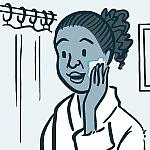 Illustration of a woman putting lotion on her face.