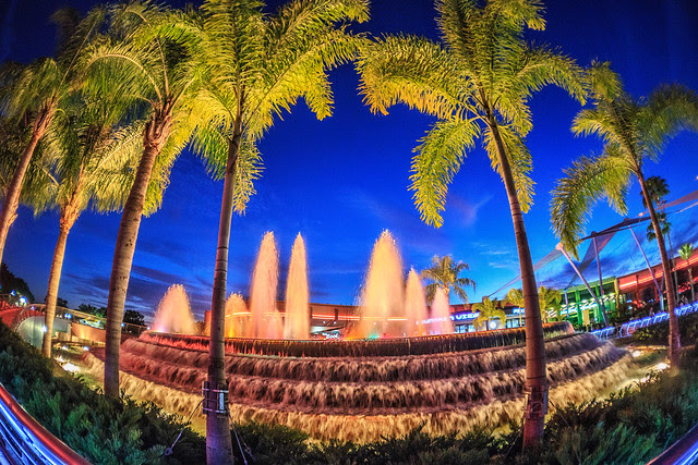 EPCOT - Palm Trees Surround the Glowing Fountain of Nations