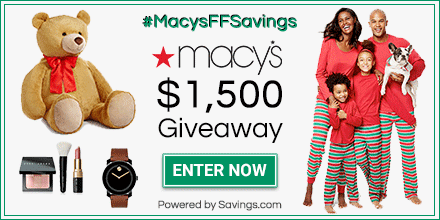 Macy's $1,500 Giveaway. Ends 12/8