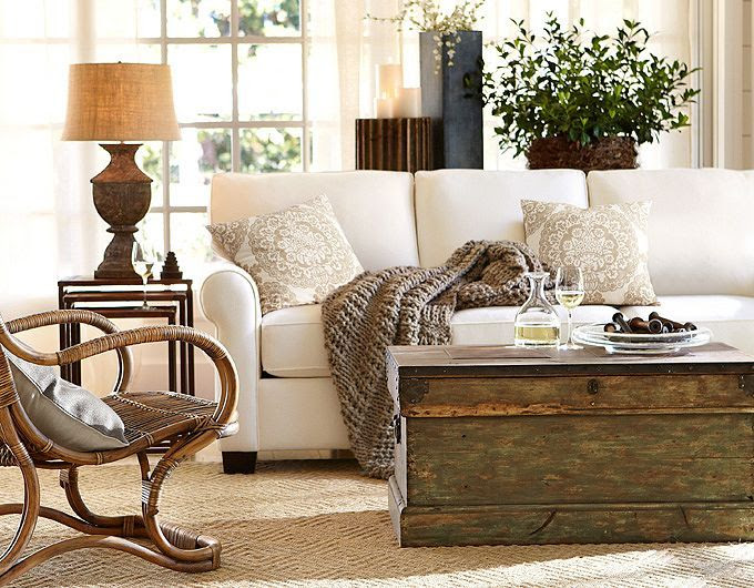 Neutral Pottery Barn Living Room....Looks really cozy! | Friday Favorites at www.andersonandgrant.com