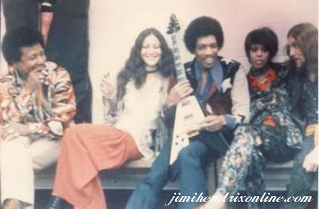 Billy Cox, Colette Mimram, Jimi Hendrix, Devon Wilson and Mitch Mitchell on June 27, 1970 at the Boston Garden. Hendrix has been characterized as the greatest guitarist of the 20th century. by Pan-African News Wire File Photos