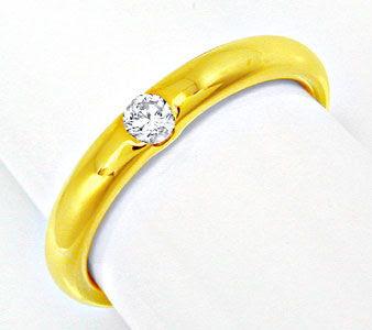 Foto 1, Neu! Brillant-Solitär-Ring, 18K Gelbgold Shop Portofrei, S8496