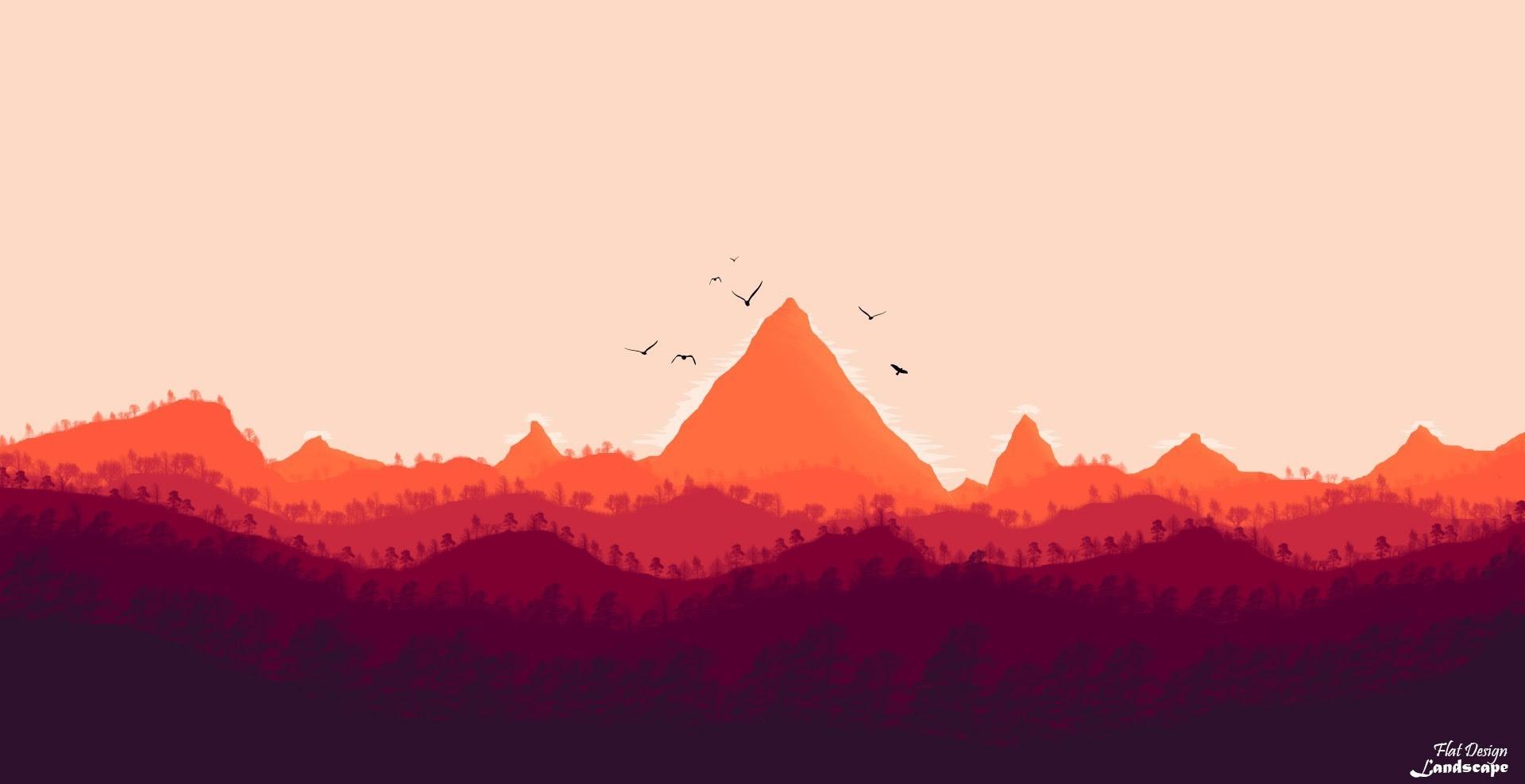 Orange Mountain Wallpaper