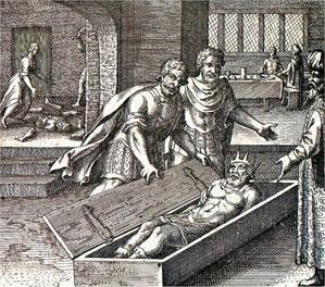 Esquerda;  representação de Hiram Abif, às vezes amalgamado com Hiram, rei de Tiro, em seu caixão cercado pelos três assassinos.