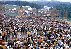 The crowd at Woodstock fills a natural amphith...