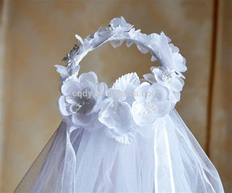 Romantic Flower Girl Wedding Veil With Silk Flower White
