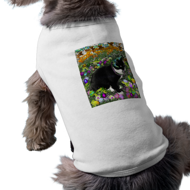 Freckles, Tux Cat, in the Hunt for Easter Eggs Doggie Tee Shirt