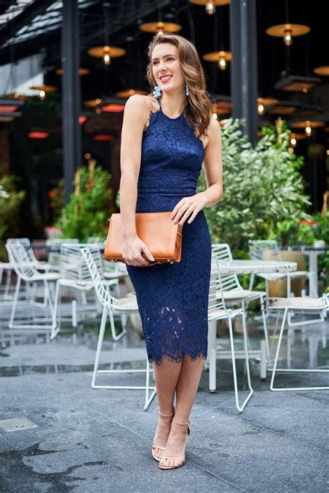 Navy Blue Lace Dress For Wedding
