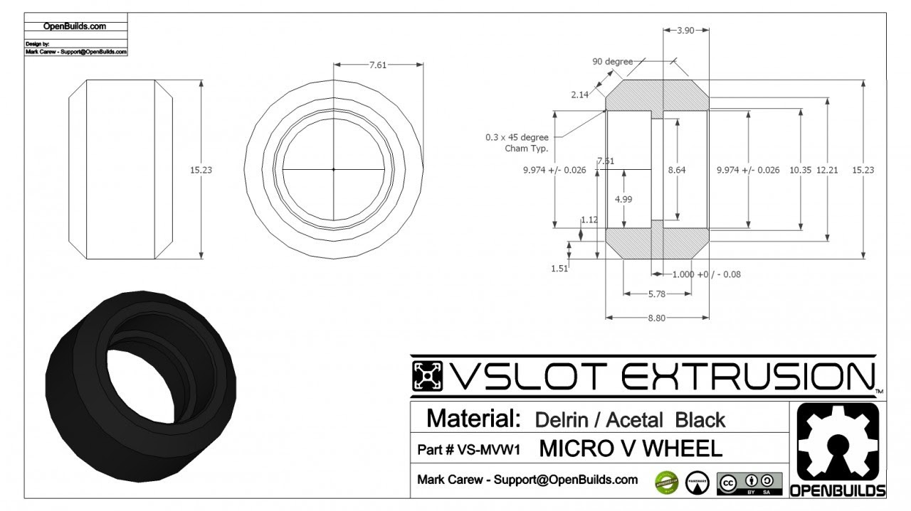 V slot wheel dimensions