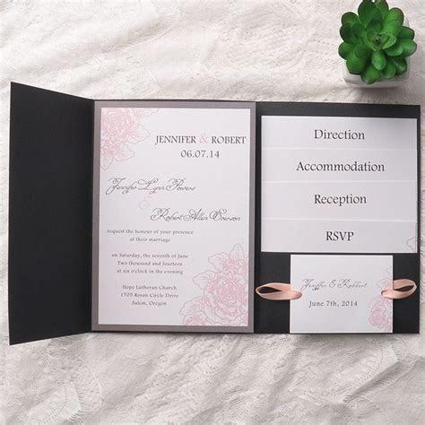 elegant foil stamped laser cut ivory pocket wedding