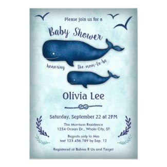 Vintage Whale Baby Shower Invitation