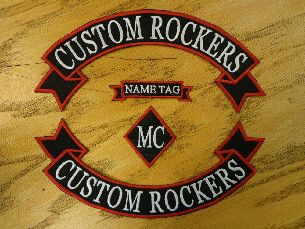 CUSTOM EMBROIDERED PATCH TOP \u0026 BOTTOM RIBBON ROCKERS NAME DIAMOND MADE IN USA  eBay