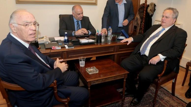 File Photo: Ο υπουργός Εξωτερικών Νίκος Κοτζιάς ενημερώνει τον πρόεδρο της Ένωσης Κεντρώων Βασίλη Λεβέντη στο γραφείο του στην Βουλή για τις τελευταίες εξελίξεις σχετικά με το ονοματολογικό μετά και την τριμερή συνάντηση που είχε στη Βιέννη, με τον ομόλογό του της πΓΔΜ, Νικόλα Ντιμιτρόφ, και τον ειδικό απεσταλμένο του Γενικού Γραμματέα του ΟΗΕ, Μάθιου Νίμιτς. ΑΠΕ-ΜΠΕ, Παντελής Σαίτας