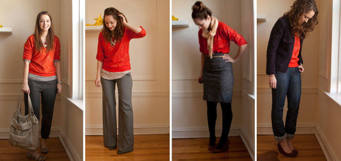 red+leopard pattern mash-up, four ways to wear, sweatshirt to work, fancy sweatshirt, business casual outfit ideas, red, wearing bright red to work, red and gray, work looks, red outfit ideas, red with neutrals