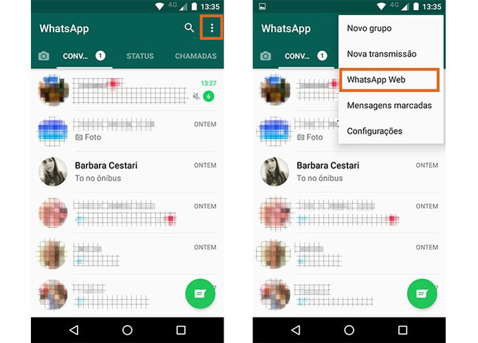 Abra o WhatsApp no seu celular principal (Foto: Reprodução/Barbara Mannara)