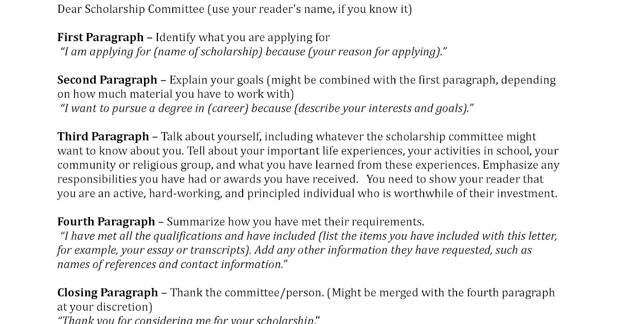 Cover Letter For Scholarship Application Template | HQ ...