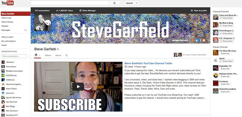 Steve Garfield - YouTube: Featured Channels - Updated