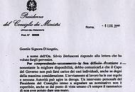 La lettera della presidenza del Consiglio alla vedova