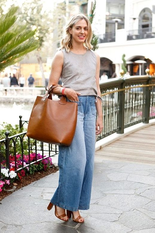Le Fashion Blog Classic Summer Style Grey Tank Top Cropped Wide Leg Jeans Brown Leather Tote Heeled Sandals Via Who What Wear