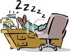 Cartoon of a Man Sleeping with His Feet on His Desk clipart