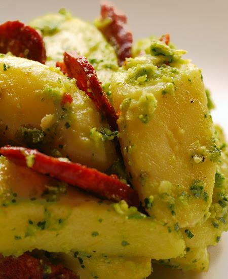kipfler potato salad with parlsey pesto and chorizo