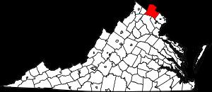 Map of Virginia highlighting Loudoun County