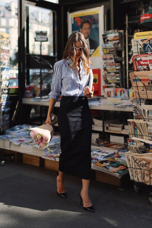 Le Fashion Blog 25 Ways To Wear A Striped Button Down Shirt Pencil Skirt Via Sarah Nait Pencil Skirt White Sunglasses Blogger Style