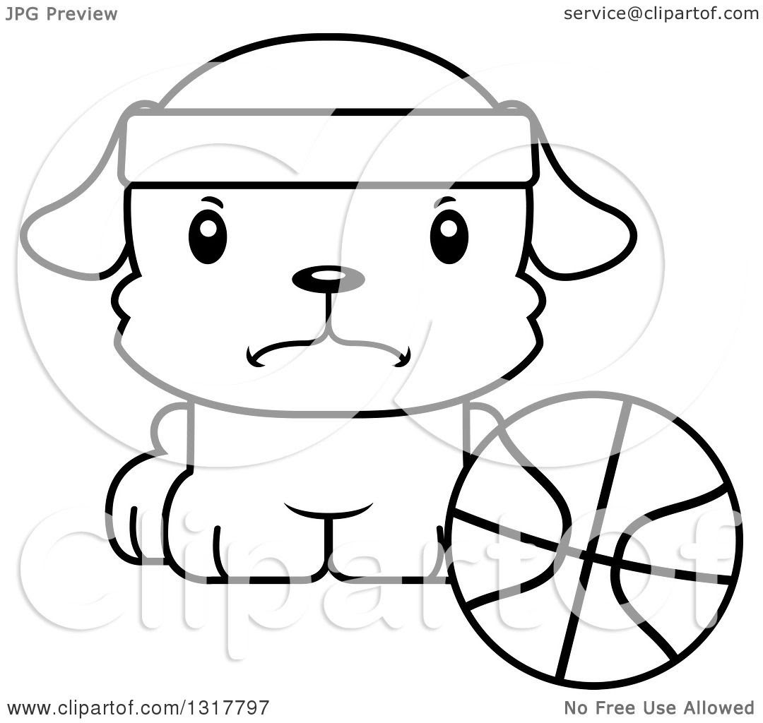 Animal Lineart Clipart Of A Cartoon Black And WhiteCute Mad Puppy Dog Sitting By A Basketball Royalty Free Outline Vector Illustration 10241317797