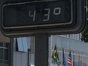 Em Copacabana, na Avenida Atlântica, termômetro chegou a marcar 43 graus. (Foto: Cristiane Cardoso/G1)