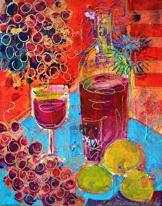 "Pinot Noir by Filomena Booth Acrylic ~ 14"" x 11"""