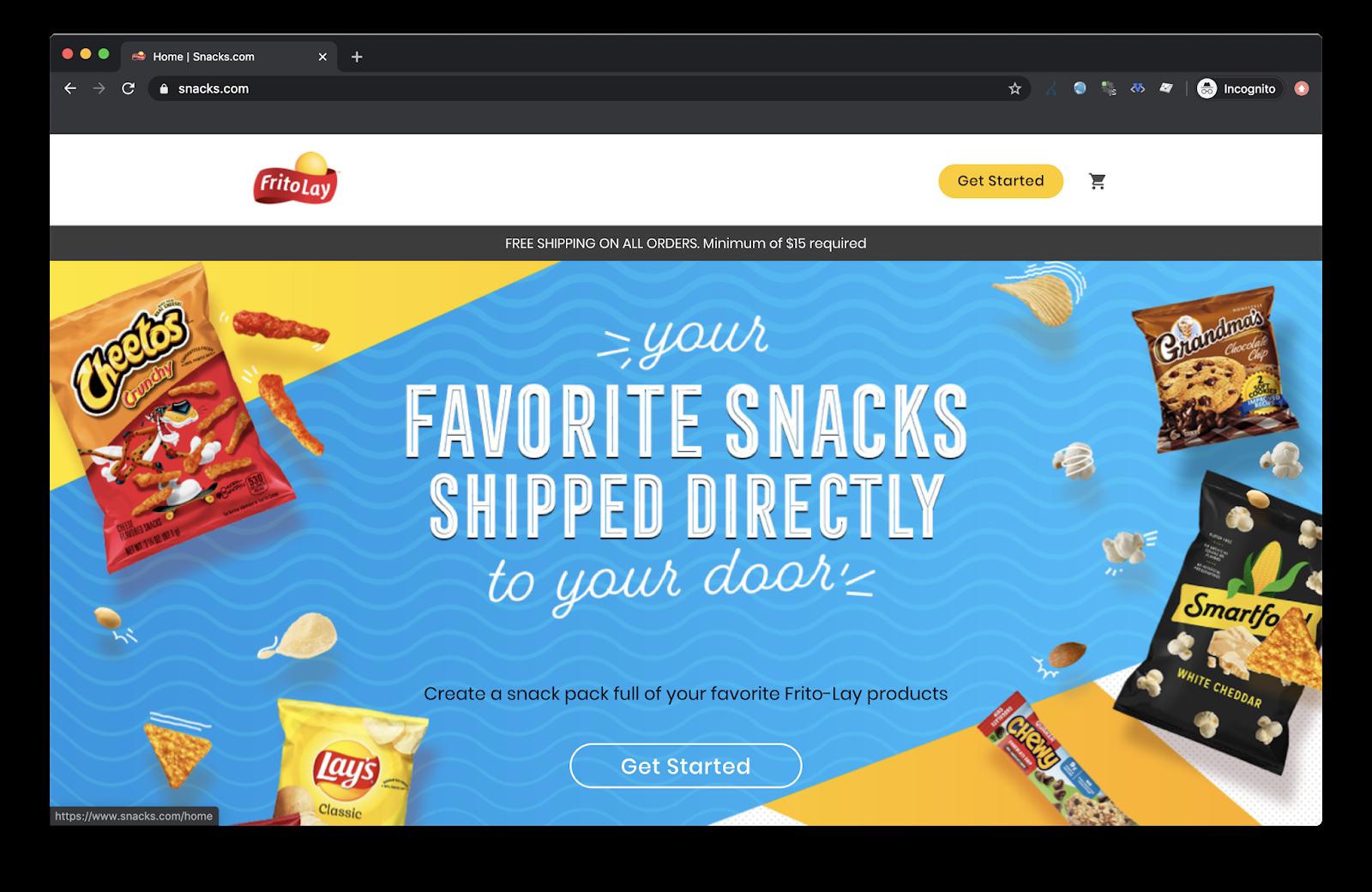 Frito Lay ships snacks home through snacks.com