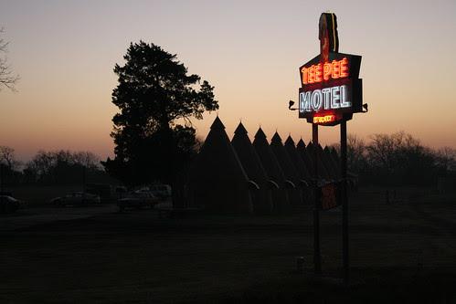 tee pee motel sunrise sky