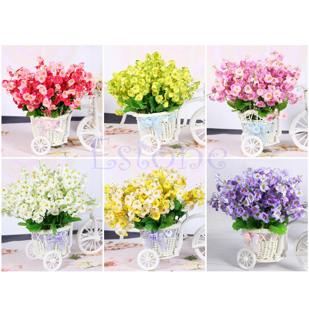 New Campanula Fake Flower Silk Leaf Artificial Home Wedding Decor Bridal Bouquet  eBay