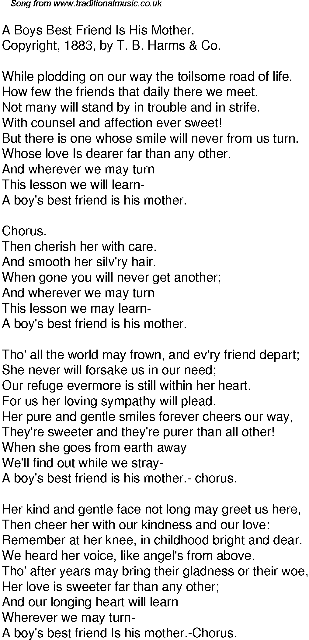 Old Time Song Lyrics For 59 A Boys Best Friend Is His Mother